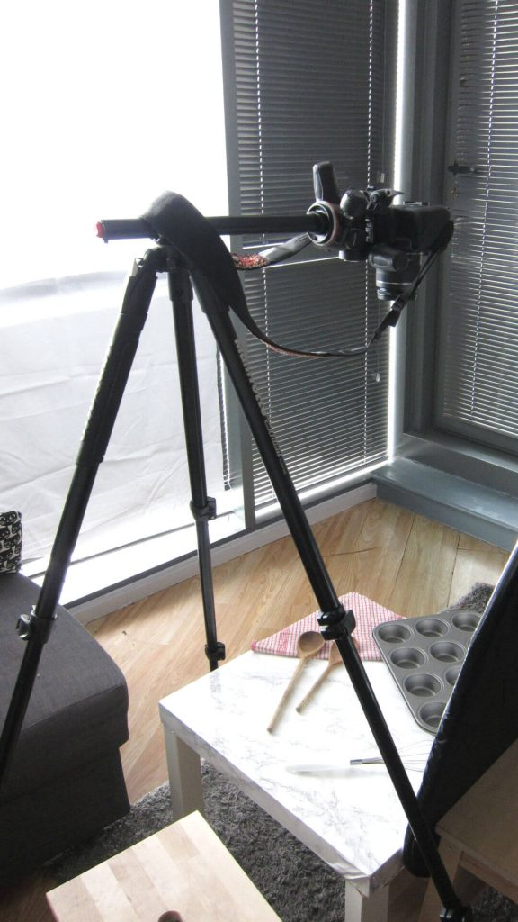 My food photography setup from behind the camera
