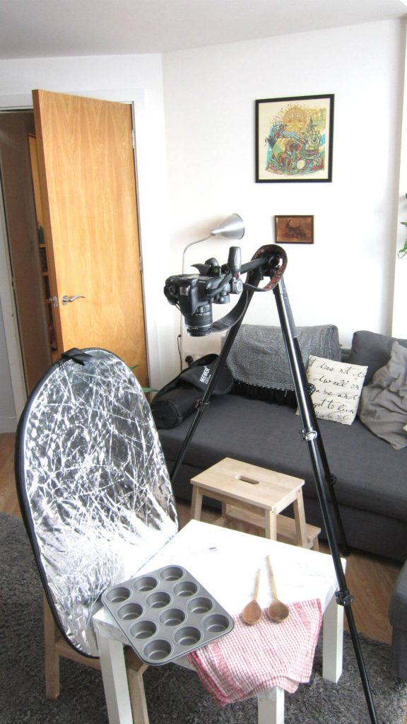 My food photography setup from in front of the camera