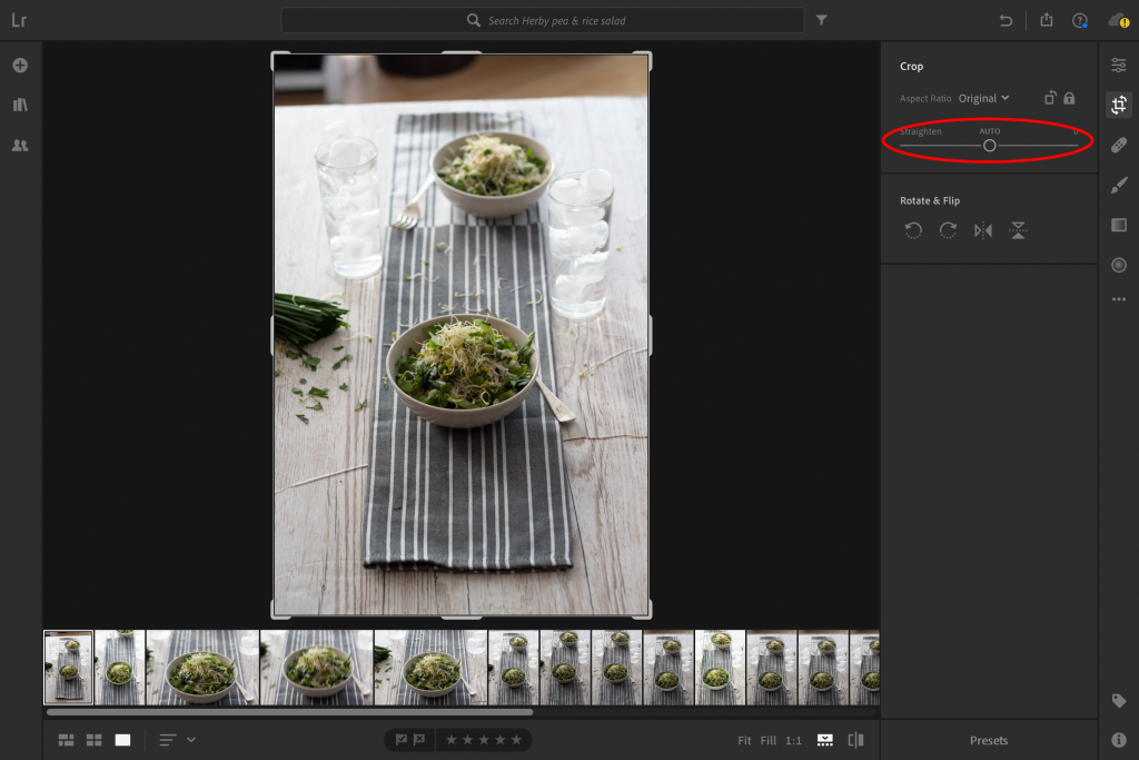 Straighten images in Lightroom
