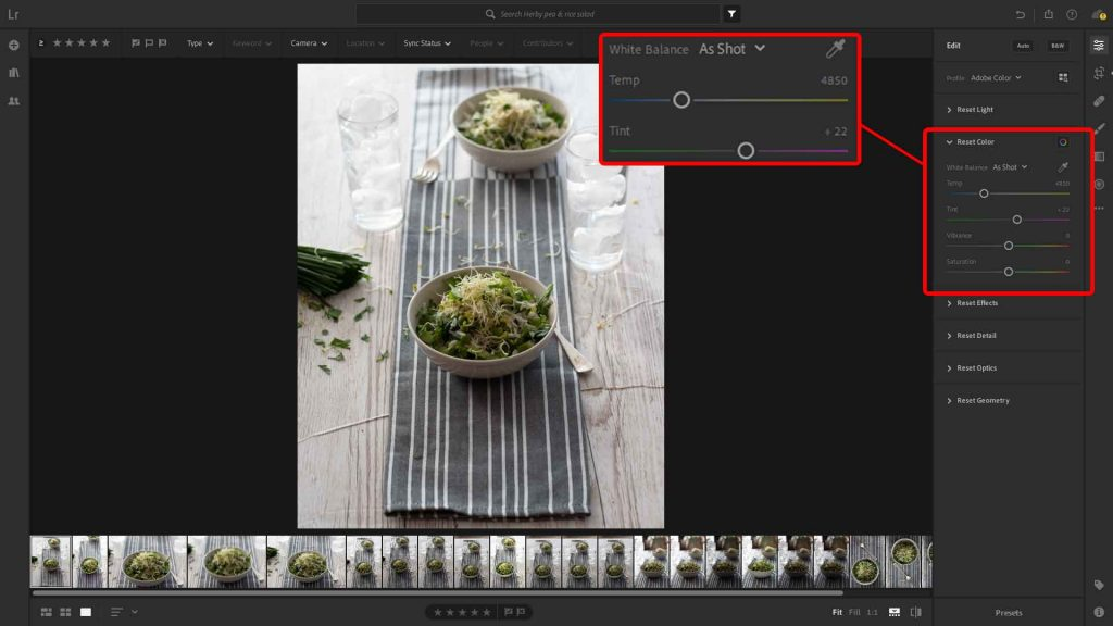 White balance in the Colour section of the Edit panel