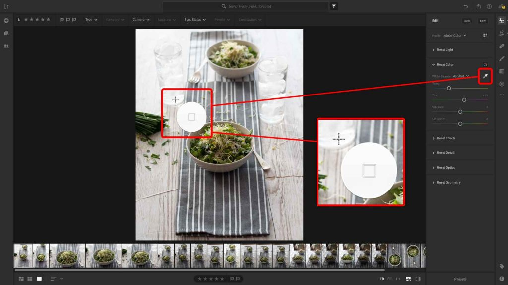 Use the dropper icon to set the white balance by selecting a part of the image that 'should' be pure white
