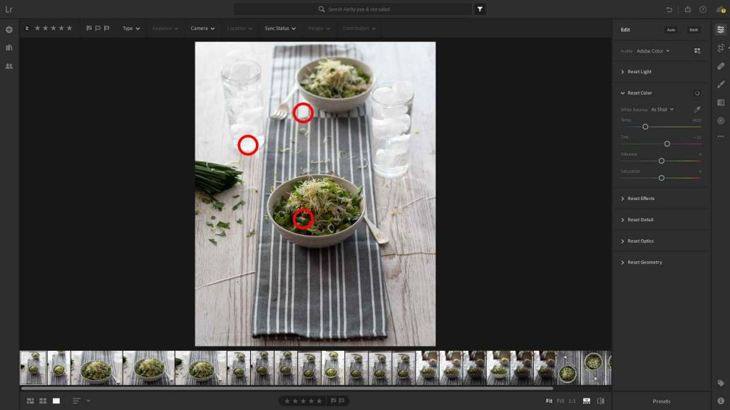 The points in the image selected using the dropper icon to set the white balance