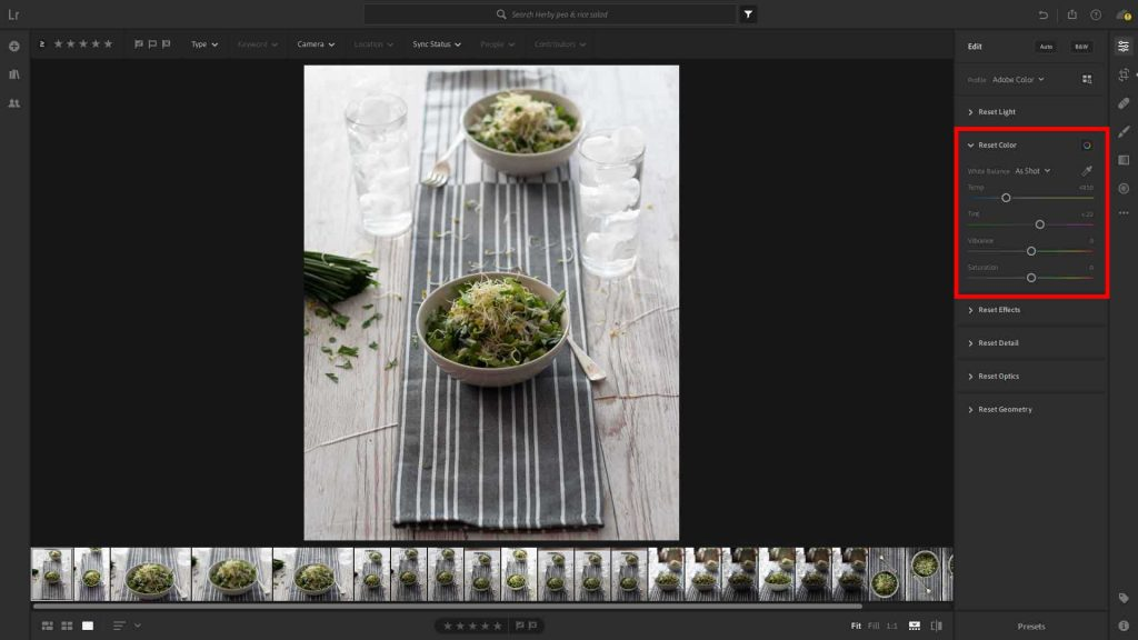 The Colour section of the Lightroom edit panel