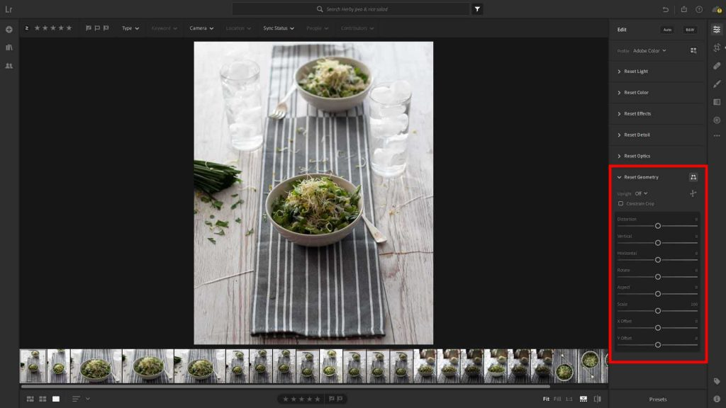 The Geometry section of the Lightroom edit panel